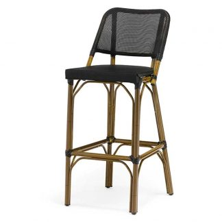 Brest barstol aluminium-bambulook bambu/svart